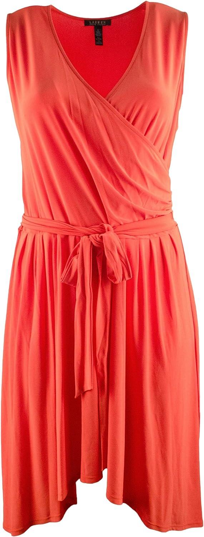 LAUREN RALPH LAUREN Women's Plus Size Sleeveless Belted Surplice Dress
