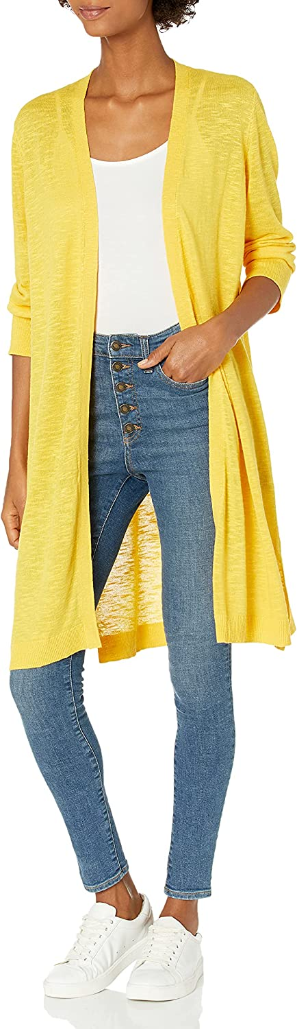 Kasper Women's 3/4 Length Sleeve Duster with Ribbed Cuff and Hem Detail