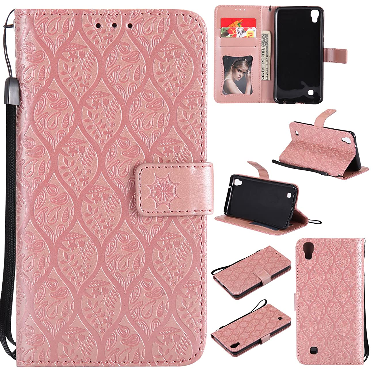 NEXCURIO LG X Power Wallet Case with Card Holder Folding Kickstand Leather Case Flip Cover for LG X Power - NEYYO10685 Rose Gold