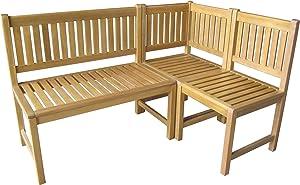 Sedex Menton Eckbank mit Tisch Gartenbank Holzbank Sitzbank Bank Gartenmöbel Parkbank Sitzgarnitur 150/100cm FSC® 100% Eukalyptusholz