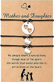 Cheerslife Madre Figlia Braccialetto per le donne Braccialetto dei desideri di corrispondenza del cuore del ritaglio delle...