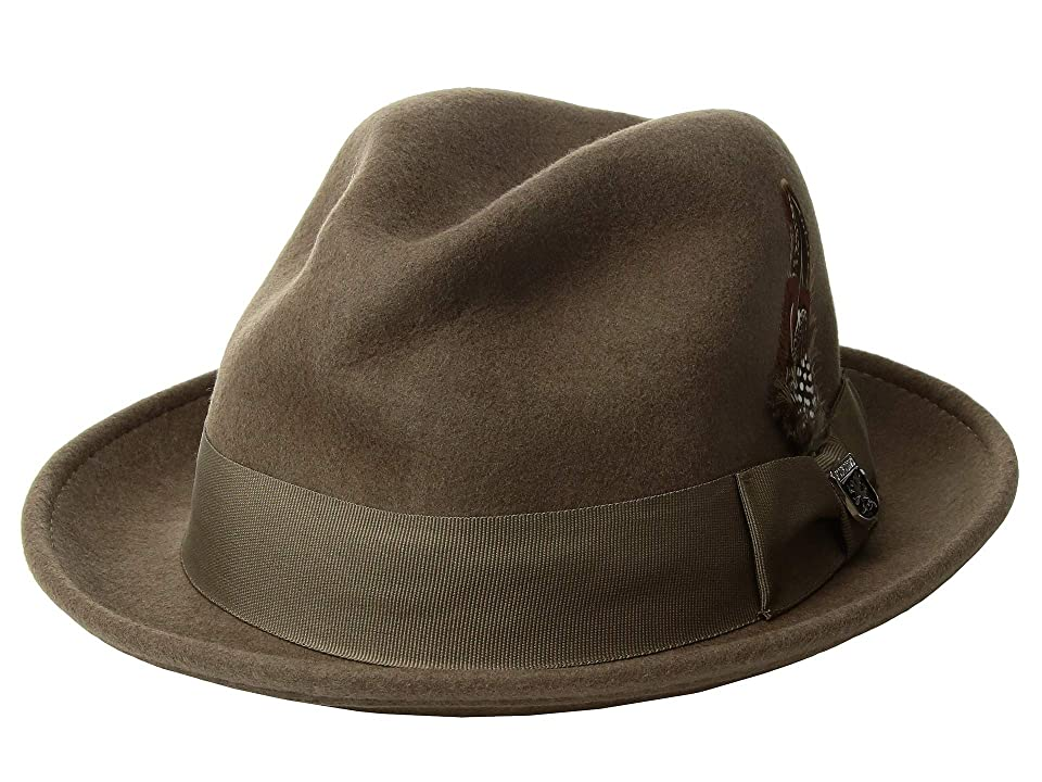 Stacy Adams Fedora with Matching Trim (Taupe) Fedora Hats
