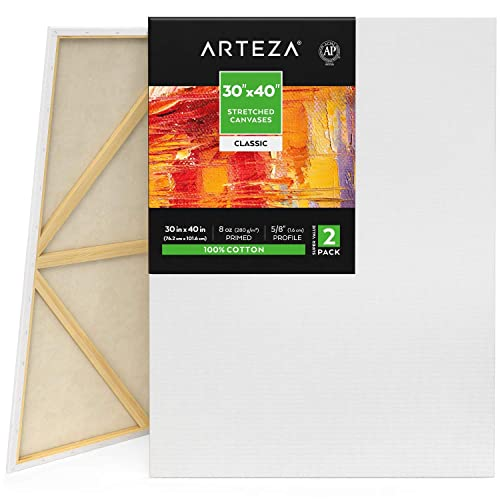 Arteza Stretched Canvas, Pack of 2, 30 x 40 Inches, Blank White Canvases, 100% Cotton, 8 oz Gesso-Primed, Art Supplies for Acrylic Pouring and Oil Painting