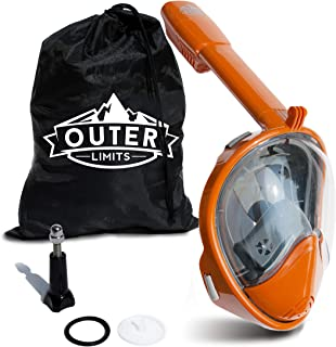 Outer Limits Full Face Snorkel Mask Adult - Works with GoPro - Scuba Mask - 180° Panoramic View - New 2019 Bubble Design with a Longer Snorkle - Snorkeling Gear - Adult Mask and Snorkel Sets