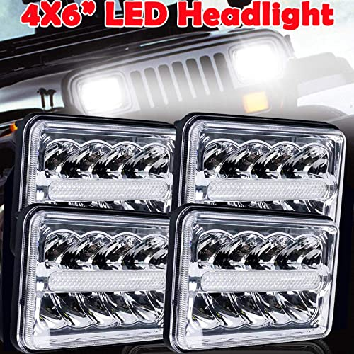 wholesale 4x6 Inch LED Headlights DRL Hi&Lo Sealed wholesale Beam Light Replace H4651 H4652 H4656 H4666 H6545 for Peterbil Kenworth online sale Freightinger Ford Probe Chevrolet Oldsmobile Cutlass, Pack of 4 outlet sale