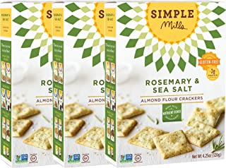 Simple Mills Almond Flour Crackers, Rosemary & Sea Salt, 4.25 Ounce (Pack of 3)
