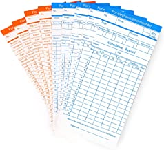 Flexzion Time Cards, Monthly Timesheet, Clock Timecard - 90 Pack, 6 Column 2-Sided Orange/Blue, Card for Time Punch Clock, Employee Attendance, Payroll Recorder, Small Business