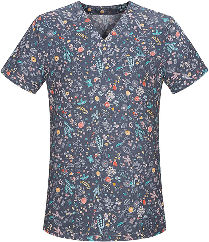 Womens Short Sleeve Scrub_Top Cartoon Print Workwear Tops Casual V-Neck Nurses_Tunic Working Uniform T-Shirts
