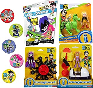 Smash Me Series Hero Go Super Teen Titans Figure Playset Party Magic Attack Raven Bundled with Pizza Starfire / Beast Boy & Terra Adventure Cartoon Character Toy + Blind Bag 4 Items & Bonus Stickers