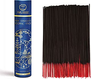 PHILOGOD Indian Temple Incense Sticks Box,Hand Rolled,Sandalwood,Patchouli,100% Natural Pack of 200 Sticks