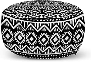 Ambesonne Abstract Ottoman Pouf, Monochromatic Graphic of Motif in Grunge Style, Decorative Soft Foot Rest with Removable Cover Living Room and Bedroom, Charcoal Grey and White