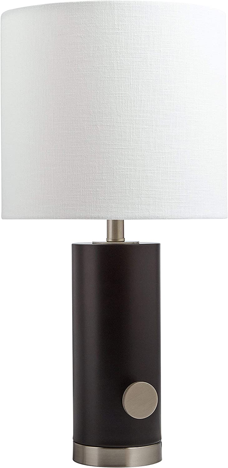 Rivet Modern Rubberwood Table Lamp, 19 H, With Bulb, Black with Linen White Shade