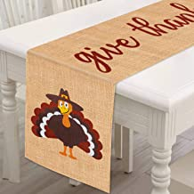 Mosoan Burlap Thanksgiving Table Runner - 13 x 72 Inches - Rustic Give Thanks Table Runner for Fall Thanksgiving Family Ga...