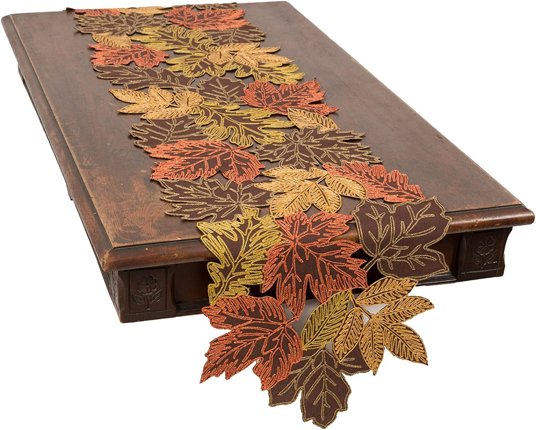 Xia Home Dedication Houston Mall Fashions Autumn Leaves 15''x90'' Brown Runner Table