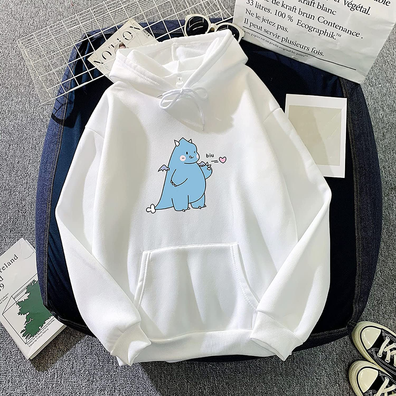 TAYBAGH Cute Hoodie for Women,Womens Girls Fashion Anime Printed Long Sleeve Hoodies Loose Hooded Sweatshirt Blouse Tops