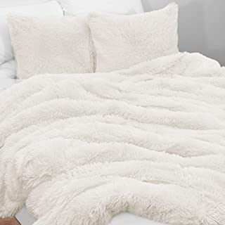 KB & Me Boho Off White Fuzzy Faux Fur Plush Duvet Comforter Cover and Sham 3 pc. Soft Shaggy Fluffy Full/Queen Size Bedding Set Ivory Cream Luxury College Dorm Teen