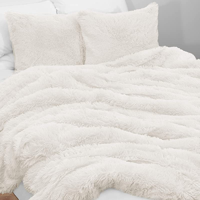 KB Me Boho Off White Fuzzy Faux Fur Plush Duvet Comforter Cover And Sham 3 Pc Soft Shaggy Fluffy Full Queen Size Bedding Set Ivory Cream Luxury College Dorm Teen