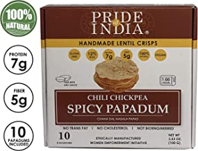 Pride Of India - Spicy Chickpea Masala Papadum Lentil Crisp, 10 count (3.53oz - 100gm) - Microwaveable Instant Chips, Gluten-Free Vegan Crackers, Healthy Protein, Fiber & Iron Rich Snacks