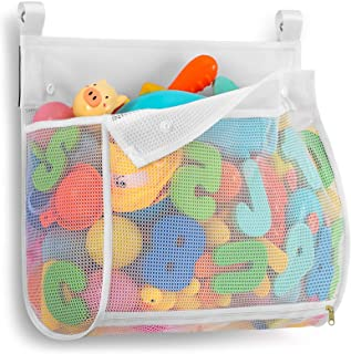Tenrai Clever Zippered Mesh Bath Toy Organizer, Multiple Ways to Hang, Extra Large Opening Bathroom Toy Holder, Large Capa...