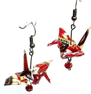 Origami Good Luck Paper Crane Earrings, Red Cream w/Czech Glass Bead, Birthday 1st Anniversary Gift