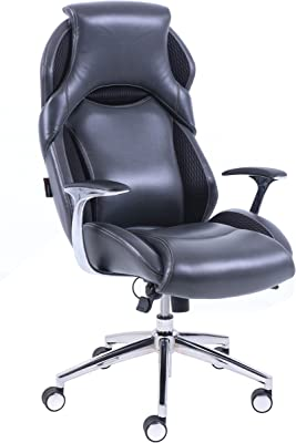 Lorell Executive High-Back Leather Chair, Black