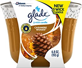 Glade 3-Wick Candle Cashmere Woods, Fragrance Candle Infused with Essential Oils, 6.8 oz, 3ct