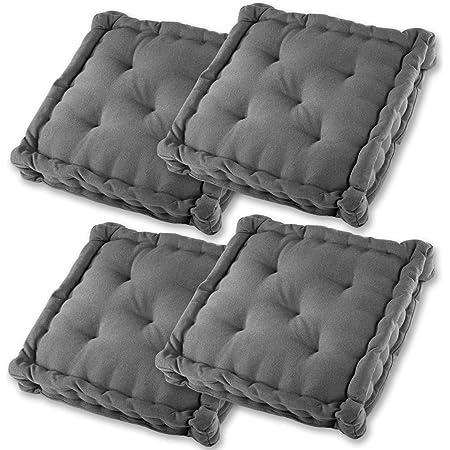 Gräfenstayn® Set de 4 Coussins d'Assise Coussins de Chaise 40x40x8cm pour intérieur et extérieur - 100% Coton - Différents Coloris – Rembourrage épais (Anthracite)