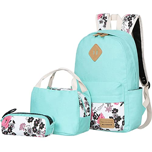 f5d9d2037eb BLUBOON Teens Backpack Set Canvas Girls School Bags, Bookbags 3 in 1 (Water  Blue