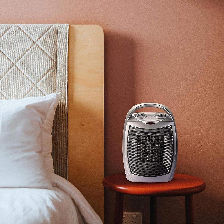 HLJ Kleine huishoudelijke apparaten elektrische haard, Space Verwarming Portable Ceramic Ventilatorkachel met instelbare thermostaat en Ov (Color : Silver) Silver
