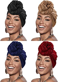 4 Pieces Head Scarf Turban Long Hair Head Wrap Scarf Soft Stretch Headwrap Headband Solid Color Turban Tie (Black, Khaki, ...