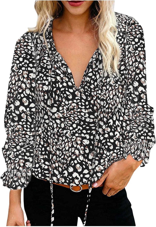 Women's V-Neck Loose Floral Print Long Sleeve V-Neck Elegant Ruffle Trim Top Summer Shirt Tops Blouse