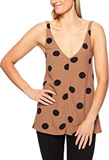 French Connection Women's V Neck Drapped CAMI, Tan/Black