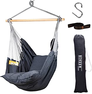Bengum Hammock Chair Hanging Swing | Indoor and Outdoor Use | Large Swinging Seat Chair for Patio, Bedroom, or Tree | 2-To...