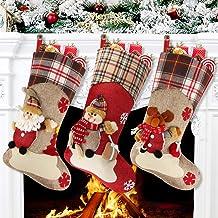 "Aitey Christmas Stocking, 18"" Set of 3 Santa, Snowman, Reindeer, Xmas Character 3D Plush Faux Fur Cuff Christmas Decoratio..."