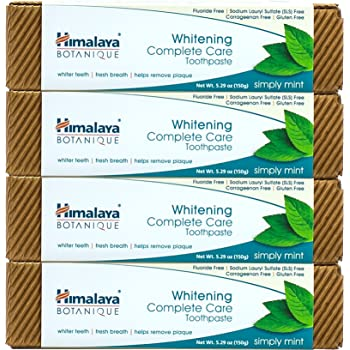 Himalaya Botanique Complete Care Whitening Toothpaste, Simply Mint, for a Clean Mouth, Whiter Teeth and Fresh Breath, 5.29 oz, 4 Pack