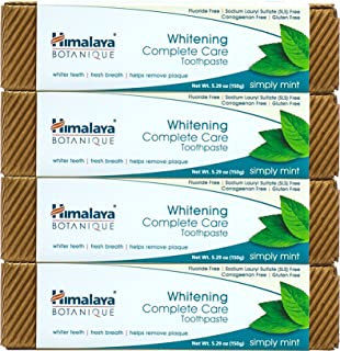 Himalaya Whitening Toothpaste - Simply Mint 5.29 oz/150 gm, Natural, Fluoride-Free & SLS-Free (4 Pack)
