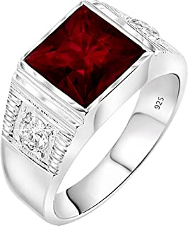 Men's Sterling Silver .925 Ring with Red Square Center Stone with Two White Cubic Zirconia (CZ) Stones, Platinum Plated.