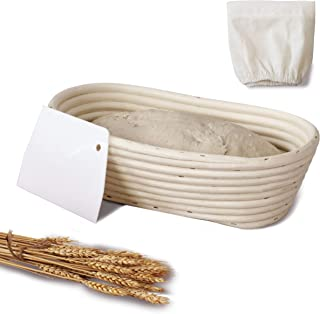 Oval Banneton Bread Proofing Basket Set | Rattan Cane French Style Artisan Sourdough Bread Bakery Basket with Dough Scrape...
