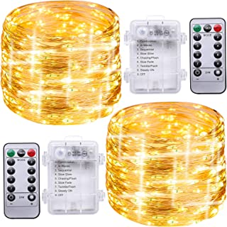 Ruisita 2 Pack Warm White 39.4 Feet 120 Led Fairy Lights Battery Operated with Remote Control Timer Waterproof Copper Wire...