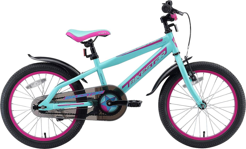 BIKESTAR Kinderfahrrad 18 Zoll für Mädchen und Jungen ab 5 Jahre | Kinderrad Urban Jungle | Fahrrad für Kinder | Risikofrei Testen Berry & Türkis