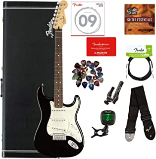 Fender Player Stratocaster, Pau Ferro - Black Bundle with Hard Case, Cable, Tuner, Strap, Strings, Picks, Capo, Fender Play Online Lessons, and Austin Bazaar Instructional DVD