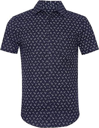 SOOPO Camisa Hombre Shirt de Manga Corta Estampados de Ancla de Barcos de Colores para Hombre, Camiseta Bonita y Cómoda para Verano, Diversos Colores ...