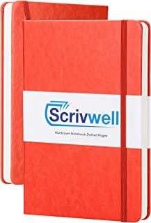 Scrivwell Dotted A5 Hardcover Notebook - 208 Dotted Pages with Elastic Band, Two Ribbon Page Markers, 120 GSM Paper, Pocket Folder - Great for Bullet journaling - Orange