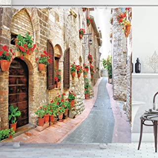 Ambesonne Tuscan Decor Collection, Porch Decorated with Flowers and Stone Roads in Small Town in Italy Photo, Polyester Fabric Bathroom Shower Curtain Set with Hooks, 84 Inches Extra Long, Peru Red