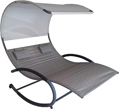 Vivere CHAISERK2-SA Double Chaise Rocking Chair, Sienna