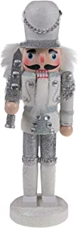 """Clever Creations Traditional Soldier Nutcracker Collectible Wooden Christmas Nutcracker   Festive Holiday Decor   Sparkling White and Silver Uniform   Holding Silver Sword   100% Wood   9.5"""" Tall"""