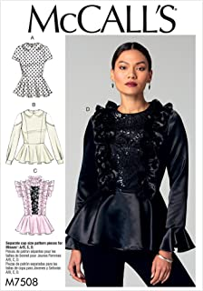 MCCALLS M7508 Misses' Peplum Tops with Ruffles or Peter Pan Collar (SZ 14-22) SEWING PATTERN