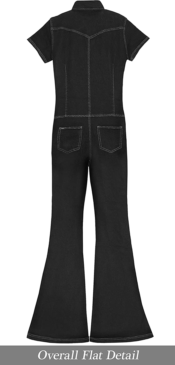 Hybrid & Company Womens Super Comfy Stretch Ripped Denim Catsuit Jumpsuit Overalls