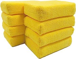 Polyte Microfiber Detailing Wax Applicator Foam Sponge (Yellow, 8 Pack, 6x4x1.5)