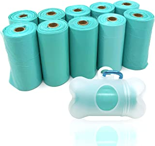 POQOD Dog Poop Bags - Leak-Proof Dog Waste Bags, Clean up Pet Poo Bag Refills (10 Rolls / 150 Count, Greenish-Blue,Purple) Includes Free Bone Dispenser and D-Ring Carabiners Clip